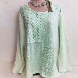 Boho Lace Sequin Cotton Tunic Top
